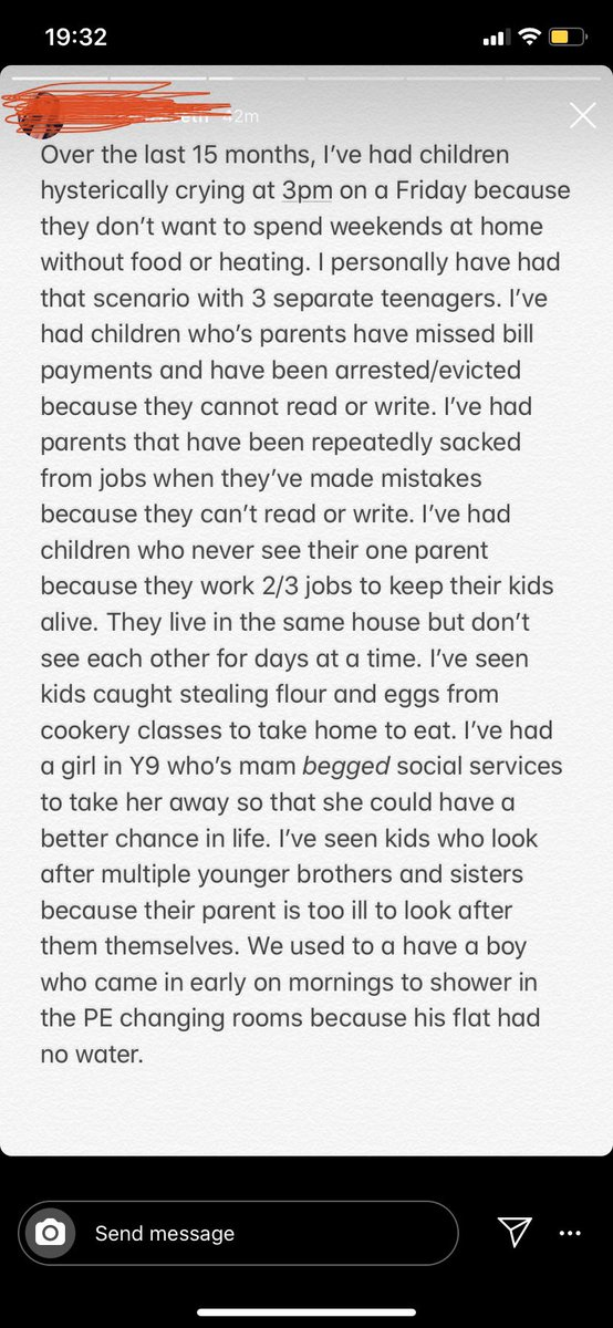 I follow a secondary school teacher on Instagram who teaches in the North East and she's just posted this on her stories Imagine voting for anyone other than Labour knowing this is how children are living in the UK