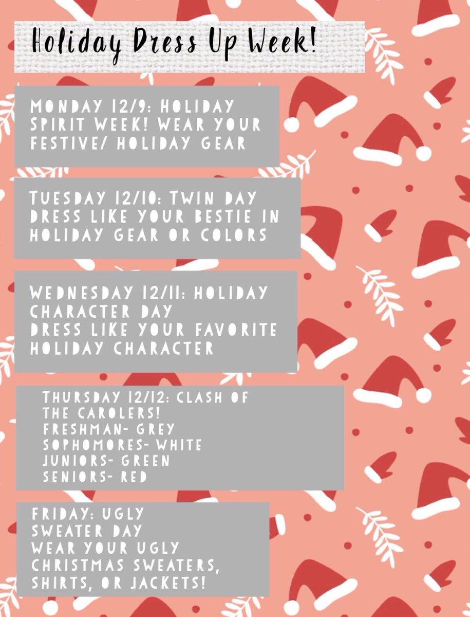 ''Tis the season to be jolly! ❄️ Holliday Dress up week begins 12/9! Let's get FULL participation!! #mbybob #seniorszn https://t.co/Ts3wQildmc