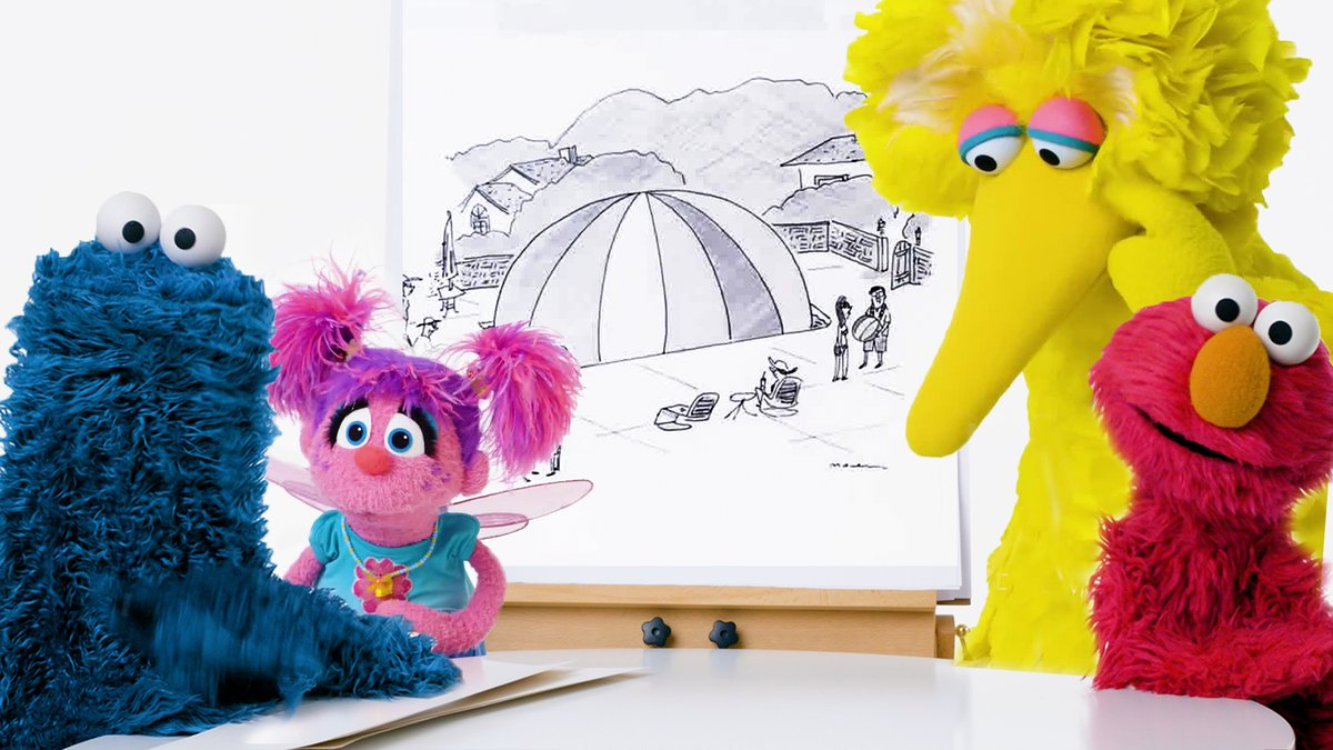 """Elmo, Big Bird, Cookie Monster, and Abby Cadabby, of """"Sesame Street,"""" team up to tackle The New Yorker's cartoon-caption contest."""