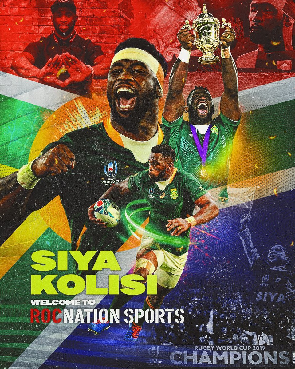 South Africa's World Cup-winning captain Siya Kolisi is the latest member of the Roc Nation Sports family!