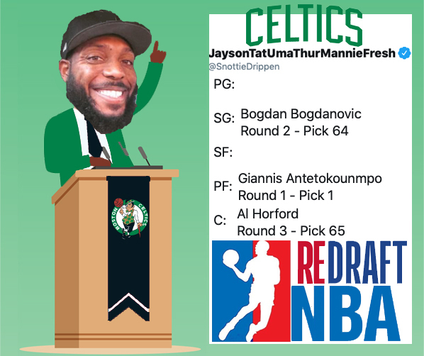 With the Sixty-Fifth Pick of Round Three @SnottieDrippen Representing the @celtics Selects: @Al_Horford #ReDraftNBA #NBATwitter #NBADraft #Celtics On the clock: @PrestonEllis  @PelicansNBA