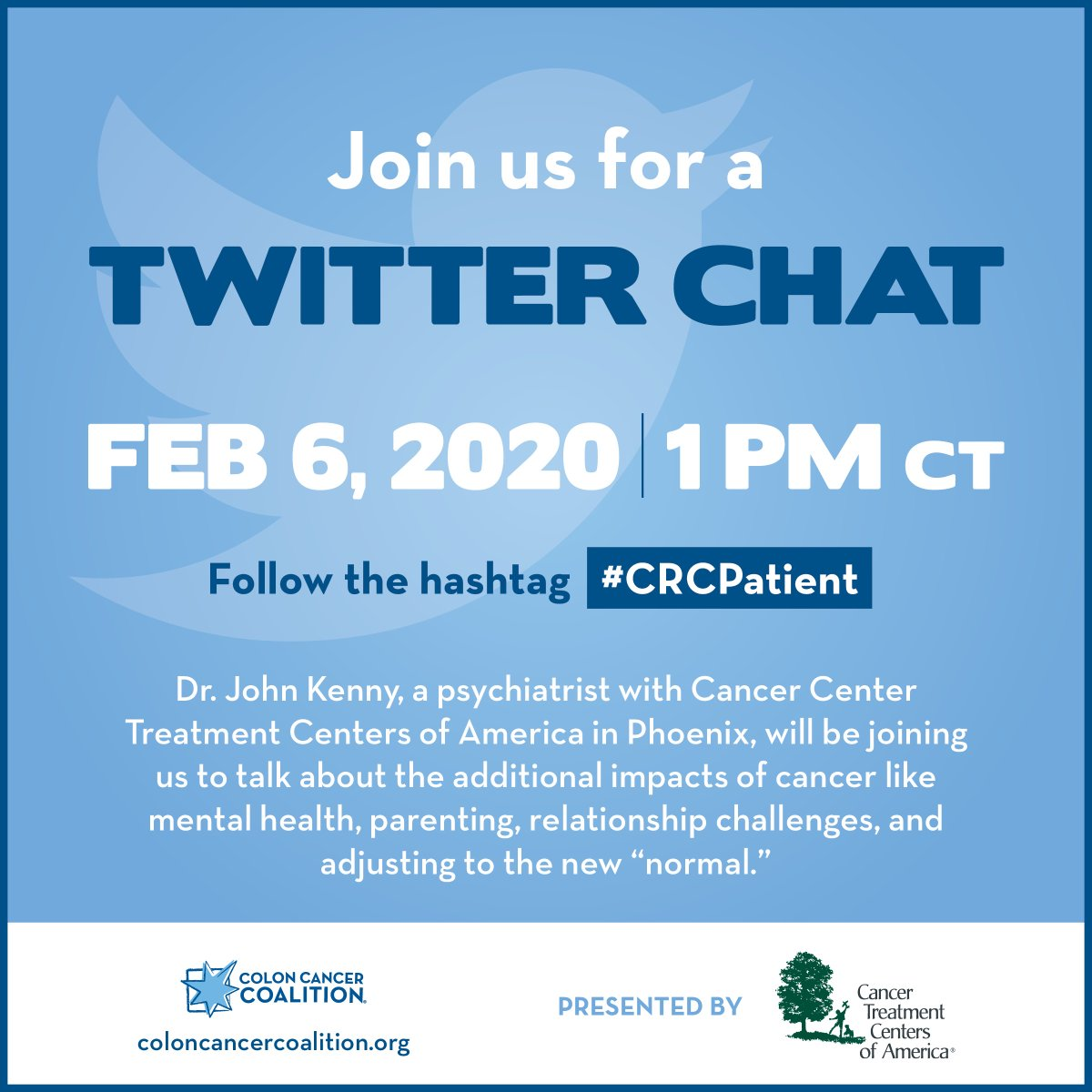 Save the date for our next Twitter Chat with @CancerCenter on February 6, 2020. #CRCPatient
