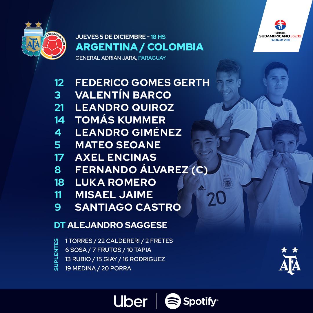 #SudamericanoSub15 ¡Formación confirmada para enfrentar a @FCFSeleccionCol!  🕰 18.00  🏟 Estadio General Adrián Jara  📺 Facebook de @CONMEBOL https://t.co/om30fzJ5kZ