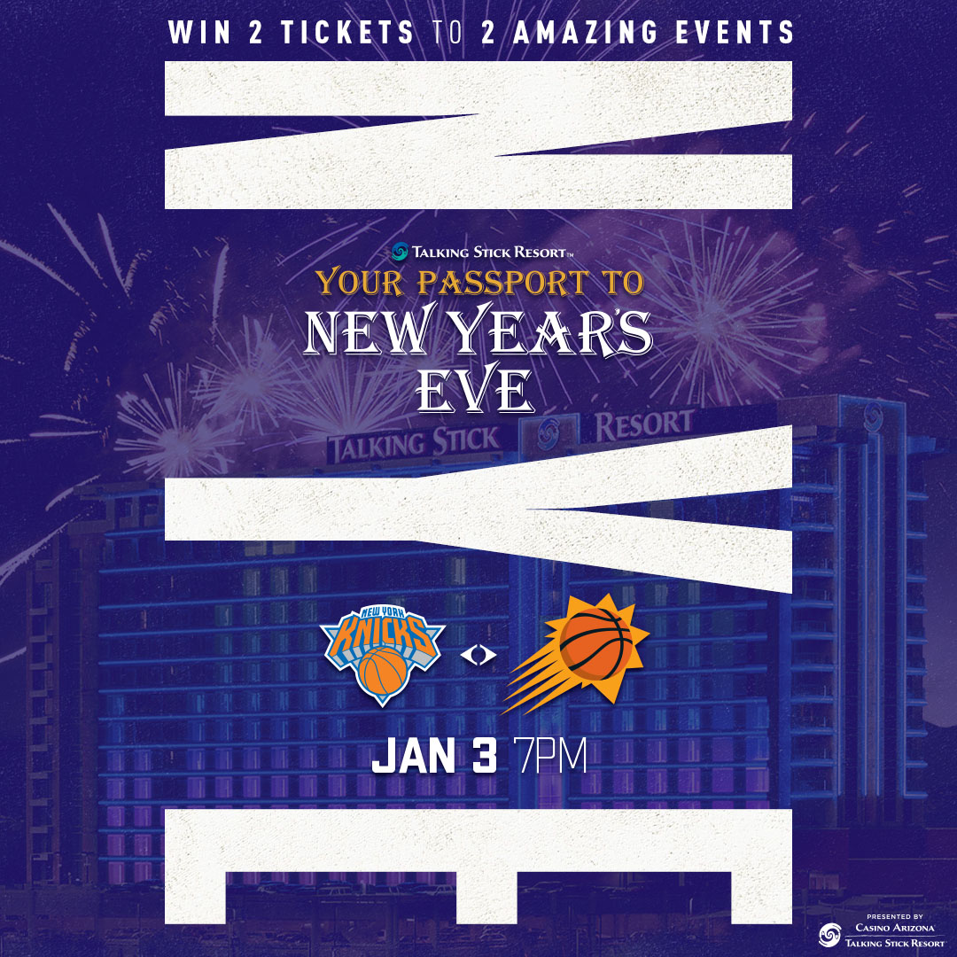 Enter for your chance to win 2 tickets to @TS_Resort's New Years Eve party AND 2 courtside seats to Suns Vs Knicks on 1.3!  To enter : 1⃣ Follow @TS_Resort  2⃣ Follow @Suns  3⃣ Tag the friend you're bringing with in the comments below!