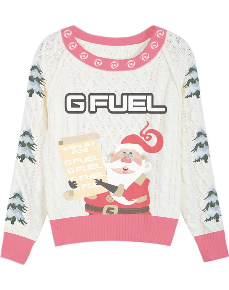 2nd entry in the @GFuelEnergy christmas sweater design giveaway! Tried to make something unique! Hope you all like it 🤓(RETWEETS APPRECIATED!)  #GFUELUGLYSWEATER https://t.co/aoTj306Xgy