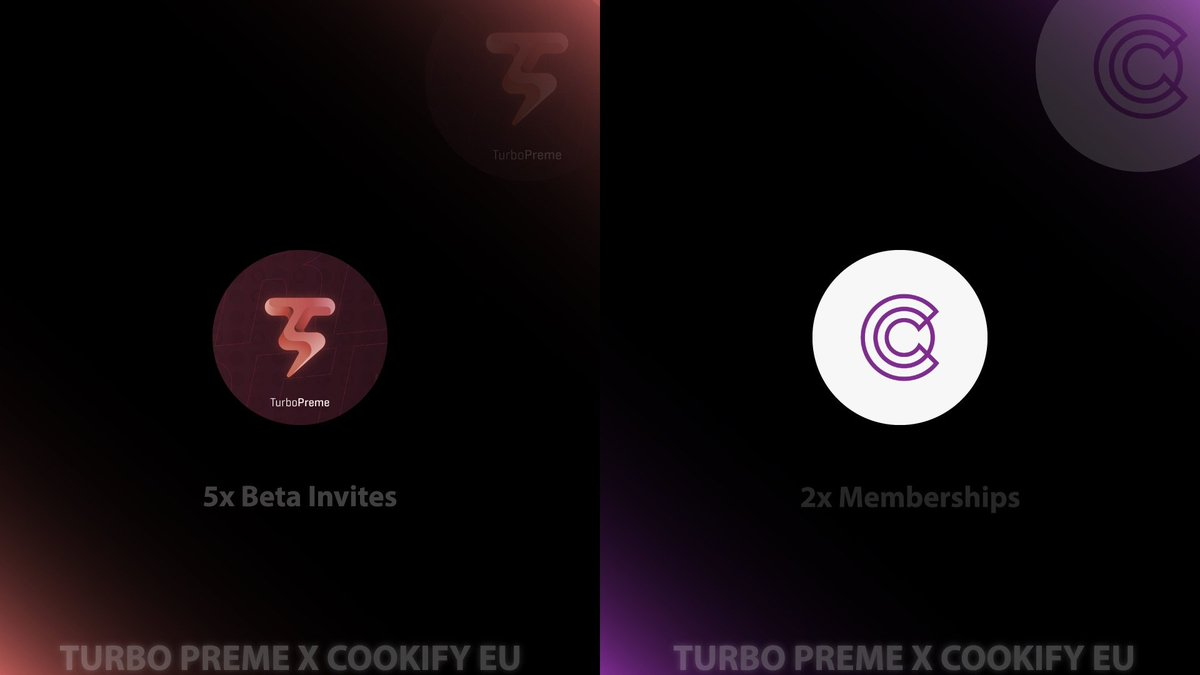 🍀Cookify x Turbo Preme Giveaway🍀5 x Turbo Invites2 x Cookify Monthlies-Follow @CookifyEu and @TurboPreme -Retweet-Tag 2 friendsEnds in 24 hoursGood luck!