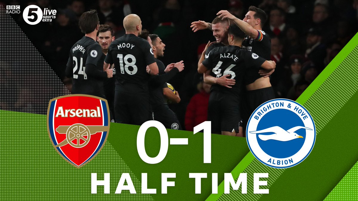 """Half TimeArsenal 0-1 BrightonWebster's goal is the difference at the break🎙️""""Arsenal have been awful"""" - @alibruceball Listen Live👇🎧⚽️: http://bbc.in/2qu4w1a#bbcfootball #ARSBHA"""