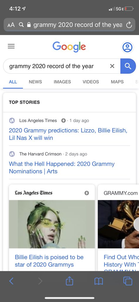 If Billie swoops in and takes it, I wouldn't be surprise. I didn't love this song, but I feel like she's a stand out this year. Also, this prediction feels on point for the night. #GrammyListeningParty #RecordOfTheYear <br>http://pic.twitter.com/YLARuz4vtr