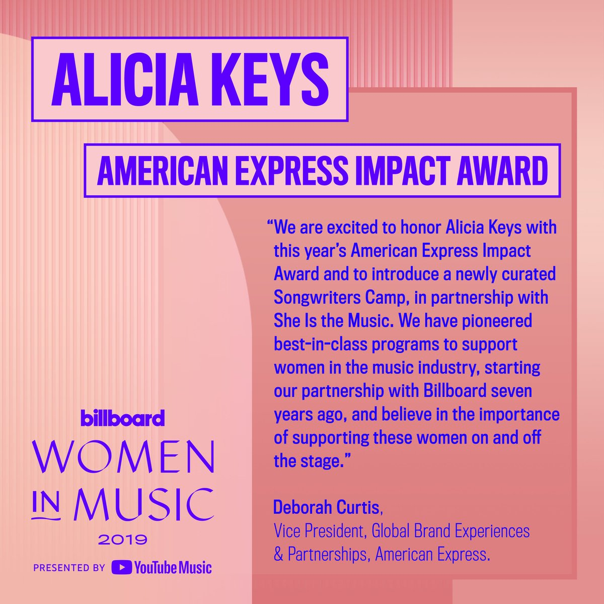 RT @billboard: Alicia Keys will receive the @americanexpress Impact Award at this year's #BBWomenInMusic for her support of women on and off the stage. Learn more about the honor here: https://blbrd.cm/M7lpxE