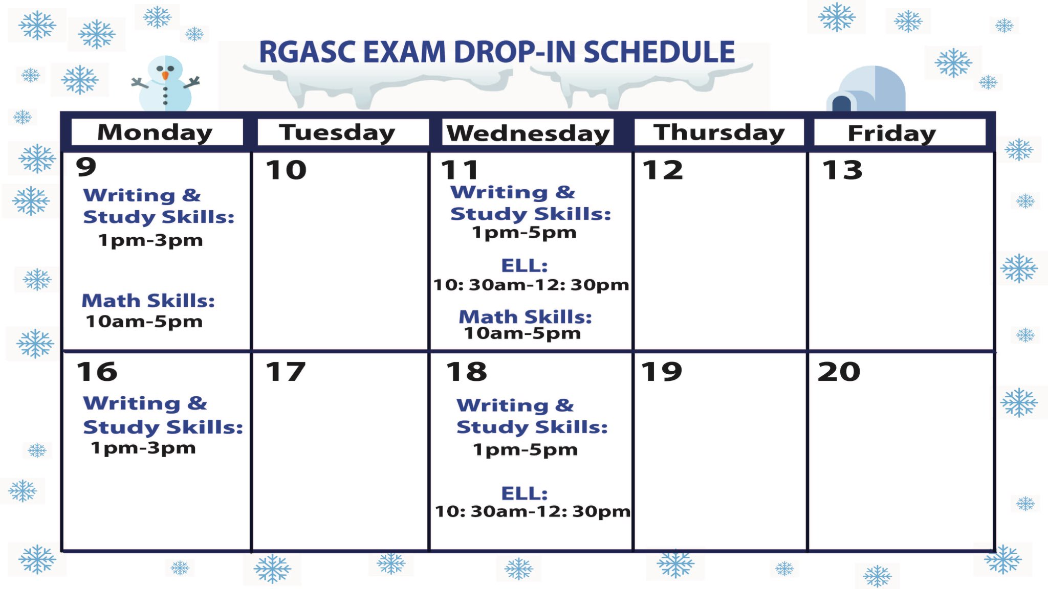 RGASC 2019f Exam Schedule