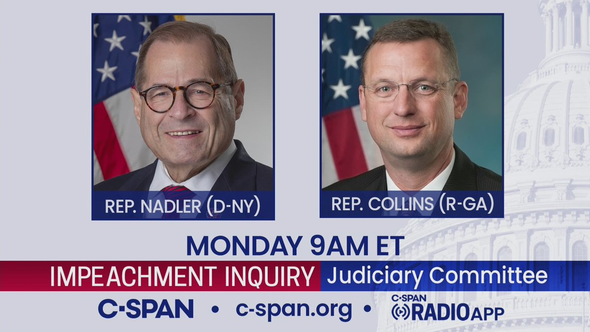 MONDAY: House Judiciary Committee Impeachment Inquiry Evidence hearing – LIVE at 9am ET on C-SPAN cs.pn/2ORLf2U