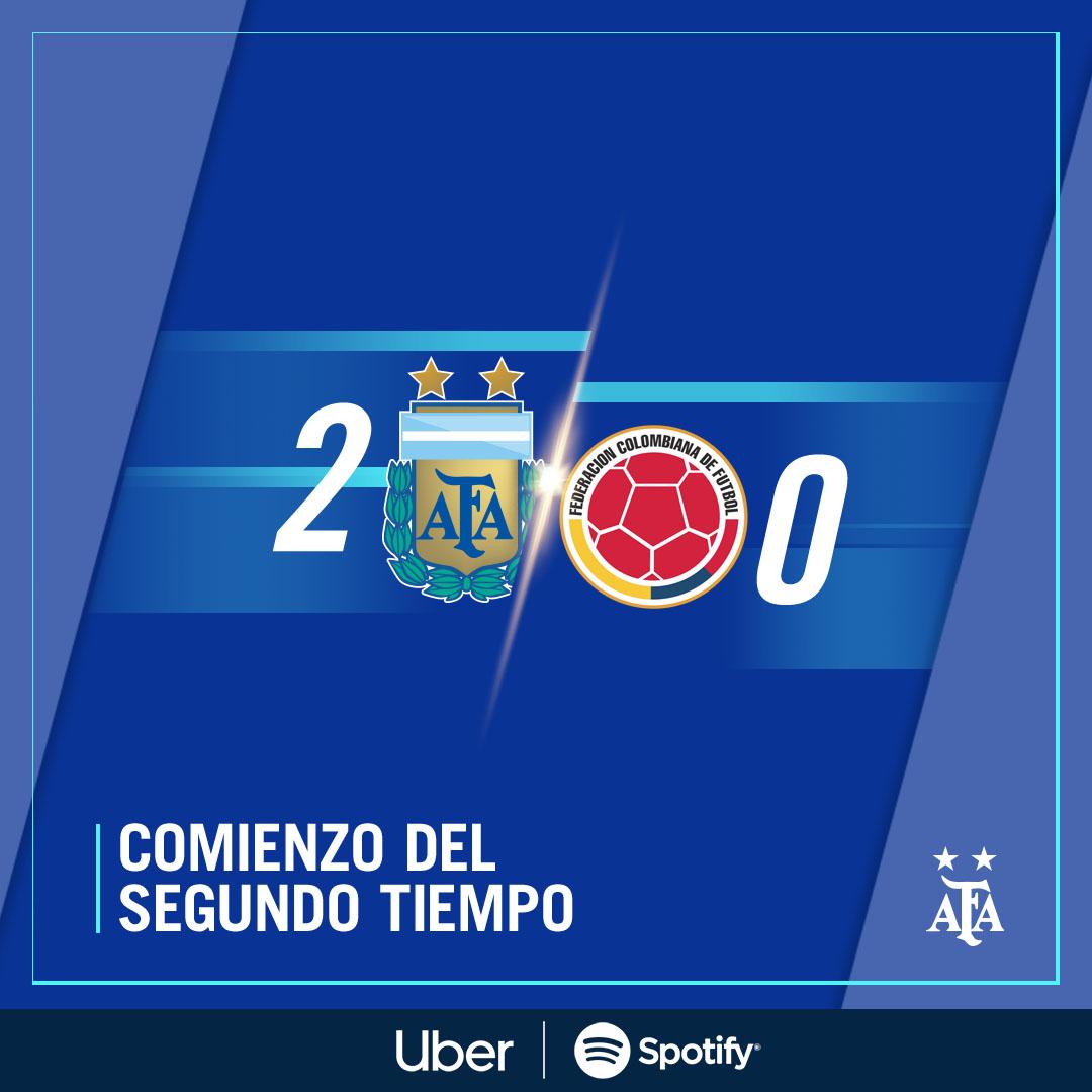 🏆 #SudamericanoSub15 - Semifinales  ⏱ ¡Inicia el segundo tiempo!  ⚽ @Argentina 🇦🇷 2 (Fernando Álvarez y Misael Jaime) - #Colombia 🇨🇴 0  📺 https://t.co/SMwPMn1emL https://t.co/rLjKA5PRV2