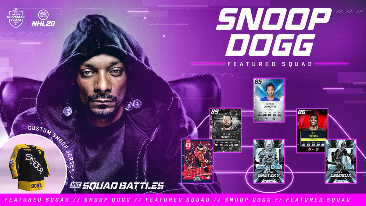 Take on the legend @SnoopDogg and his stacked #NHL20 Featured Squad to earn his dope Snoop HUT Jersey!