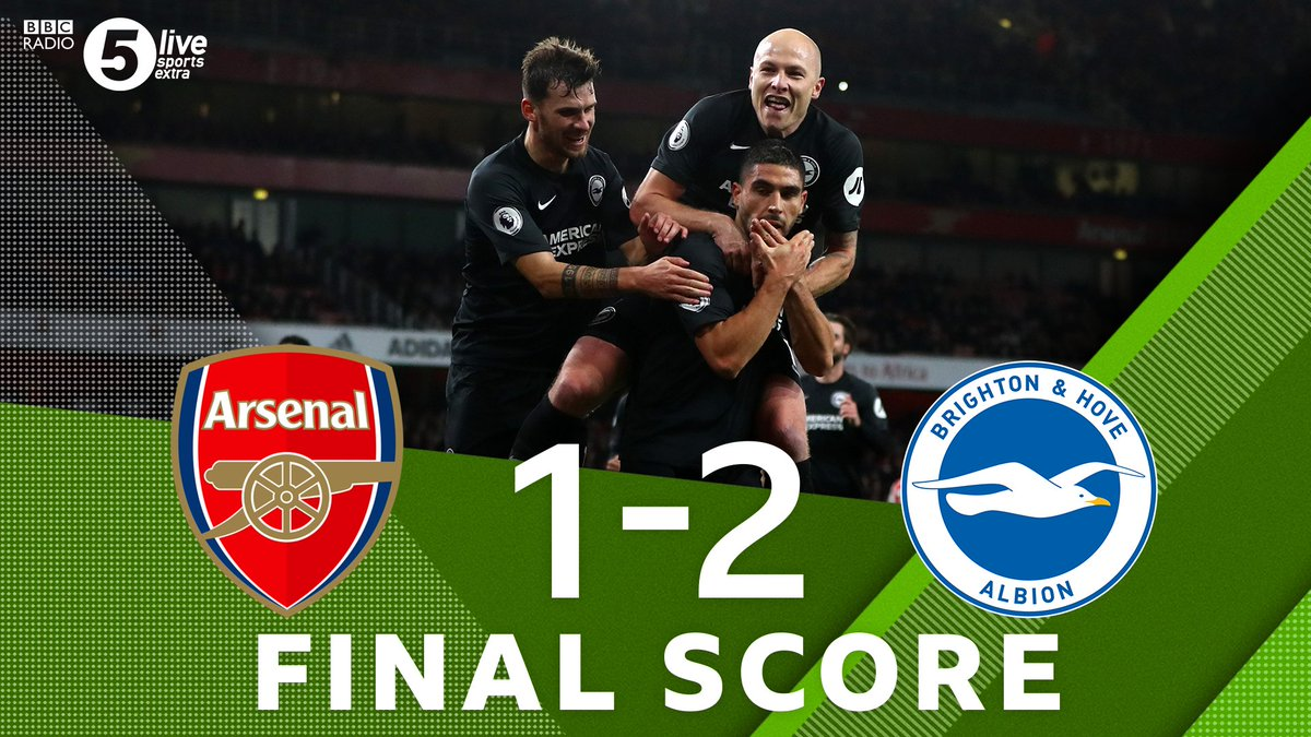 """Full TimeArsenal 1-2 Brighton🥳 Brighton get their first ever away win to Arsenal😢 Arsenal have their worst run of form in 42 years🎙️""""Arsenal are breaking all of the wrong records"""" - Matt UpsonListen Live👇🎧⚽️: http://bbc.in/2qu4w1a#ARSBHA #AFC #BHAFC"""