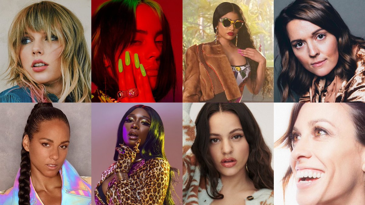 .@Billboard's 2019 Women In Music—@TaylorSwift: Woman of the Decade@BillieEilish: 2019 Woman of the Year@NickiMinaj: Game Changer@BrandiCarlile: Trailblazer@AliciaKeys: Amex Impact AwardMegan @TheeStallion: Powerhouse@Rosaliavt: Rising Star@Alanis: Icon#BBWomenInMusic