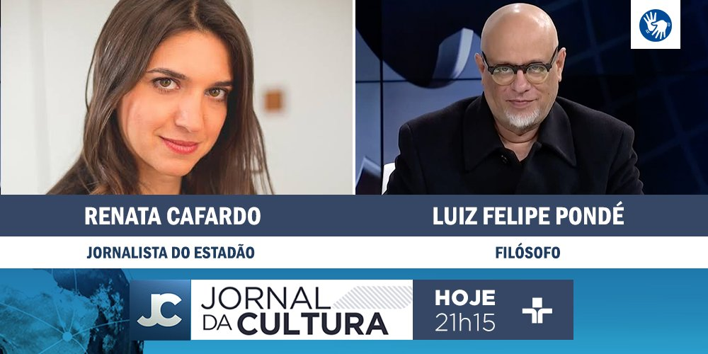 DAQUI A POUCO: Ana Paula Couto recebe os comentários do filósofo @lf_ponde e da jornalista Renata Cafardo. Às 21h15. #JornaldaCultura