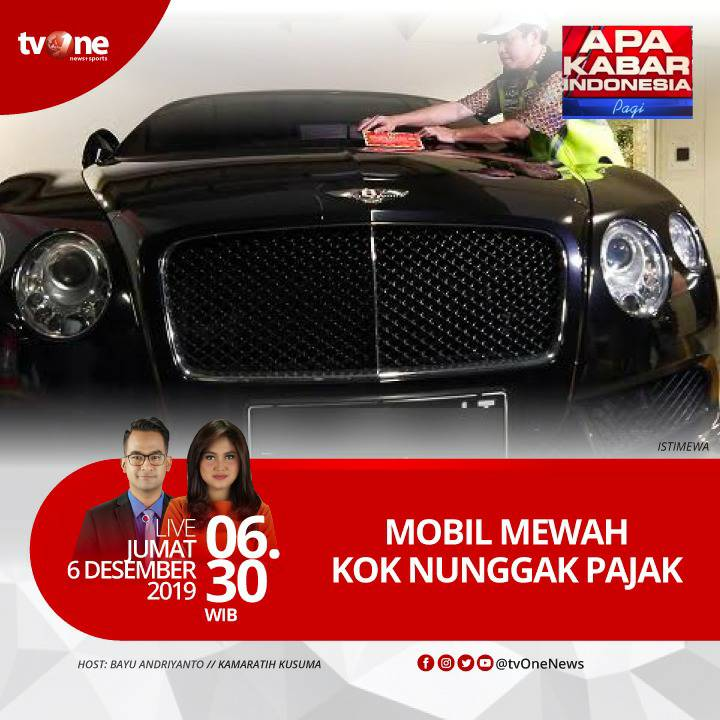 Mobil mewah kok nunggak pajak. Saksikan Apa Kabar Indonesia Pagi Jumat, 6 Desember 2019 jam 06.30 WIB hanya di tvOne & streaming tvOne Connect, android http://bit.ly/2EMxVdm & ios http://apple.co/2CPK6U3. #AKIPagitvOne
