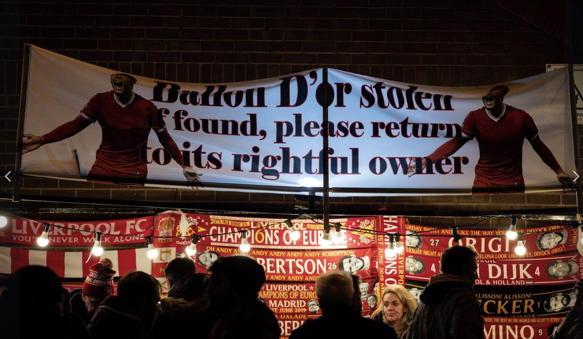 📸 — Liverpool fans protested the Ballon d'Or winner selection with a banner before their game against Everton last night.