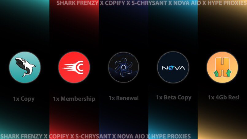 Giveaway Time🕺Prizes:1 x lifetime copy @sharkassist 1 x membership @CopifyGroup 1 x renewal copy @s_chrysant 1 x beta copy @nova_aio 1 x 4gb residential proxies pack @hypeproxiesio To enter:Follow all accounts👁Retweet🔄Tag your cook buddy👯‍♂️Enter up!!