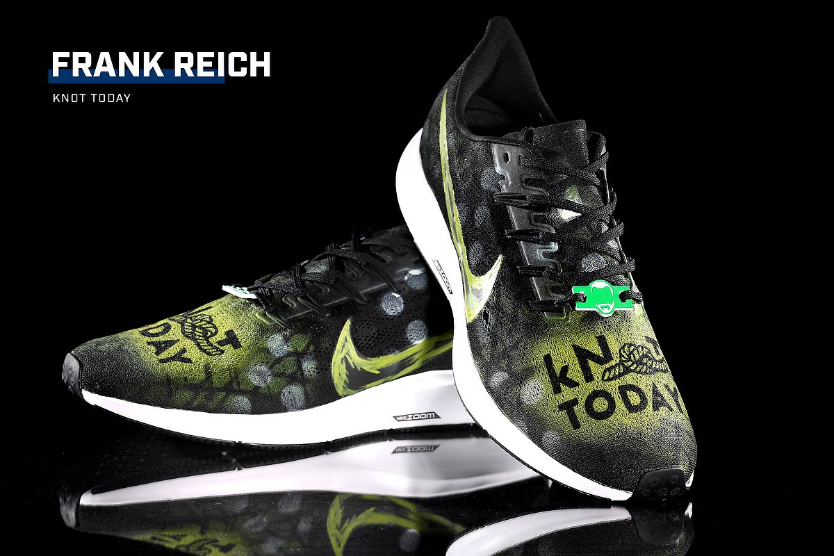 FIRST LOOK 👀👟 Coach Reich will wear these shoes Sunday in support of kNOT TODAY — an organization founded by him and his wife, Linda, fighting against child sexual exploitation. #MyCauseMyCleats