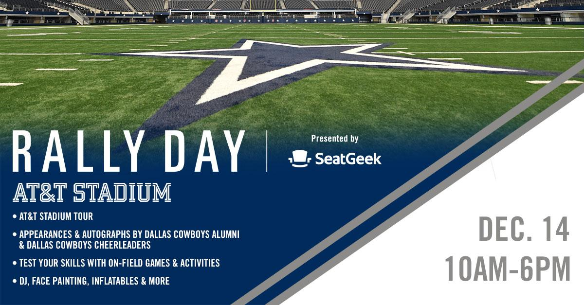 Join us at #ATTStadium on Dec. 14th for the experience of a lifetime at Rally Day presented by @SeatGeek. Enjoy activities on the field both teams will play on the next day, get a behind the scenes tour of @ATTStadium and more. Get your tickets NOW! → bit.ly/2OU4qcE