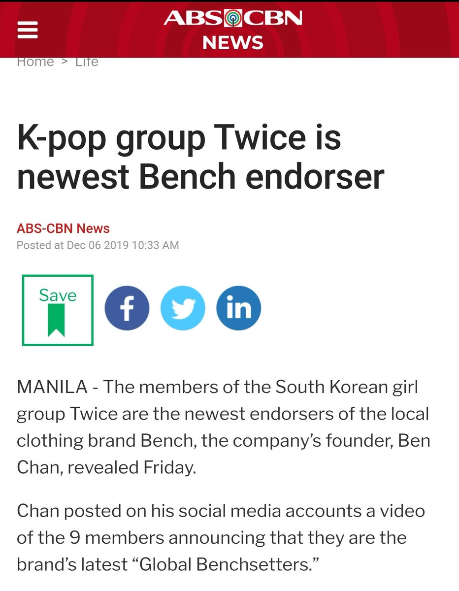TWICE getting on various Philippines sites as they became the endorser for BENCH  all the promotion @JYPETWICE   #TWICEXBENCH #TWICE  #트와이스 <br>http://pic.twitter.com/y3QKFexbPo