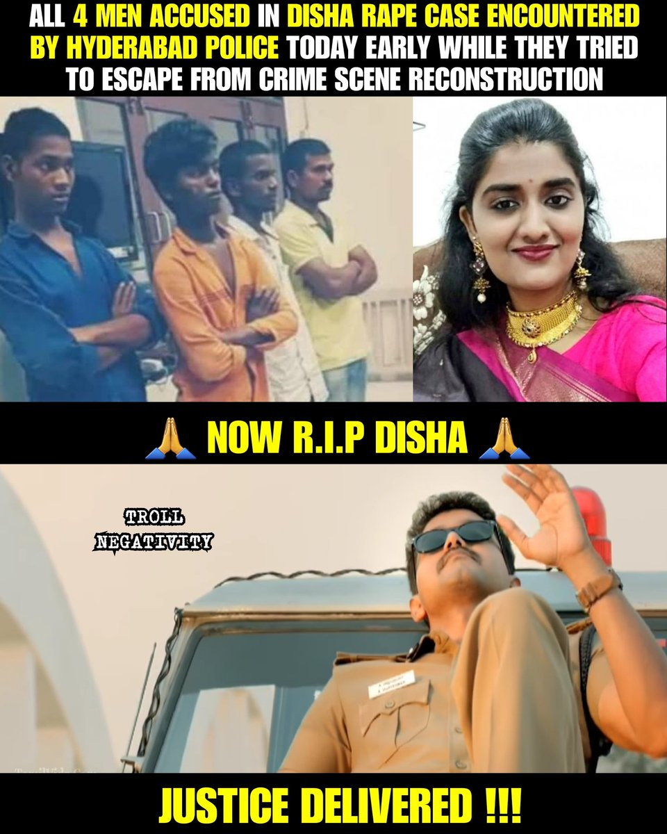 JUSTICE DELIVERED !!! #RIPDisha   All 4 men acussed in #DishaCase shot dead in #encounter by #Hyderabad police early today morning at crime scene reconstruction!!! Thanks to #hyderabadpolice .. #JusticeForDisha   #justiceforpriyanakareddy #PriyankaReddy #Disha<br>http://pic.twitter.com/PJsmWFzTn8
