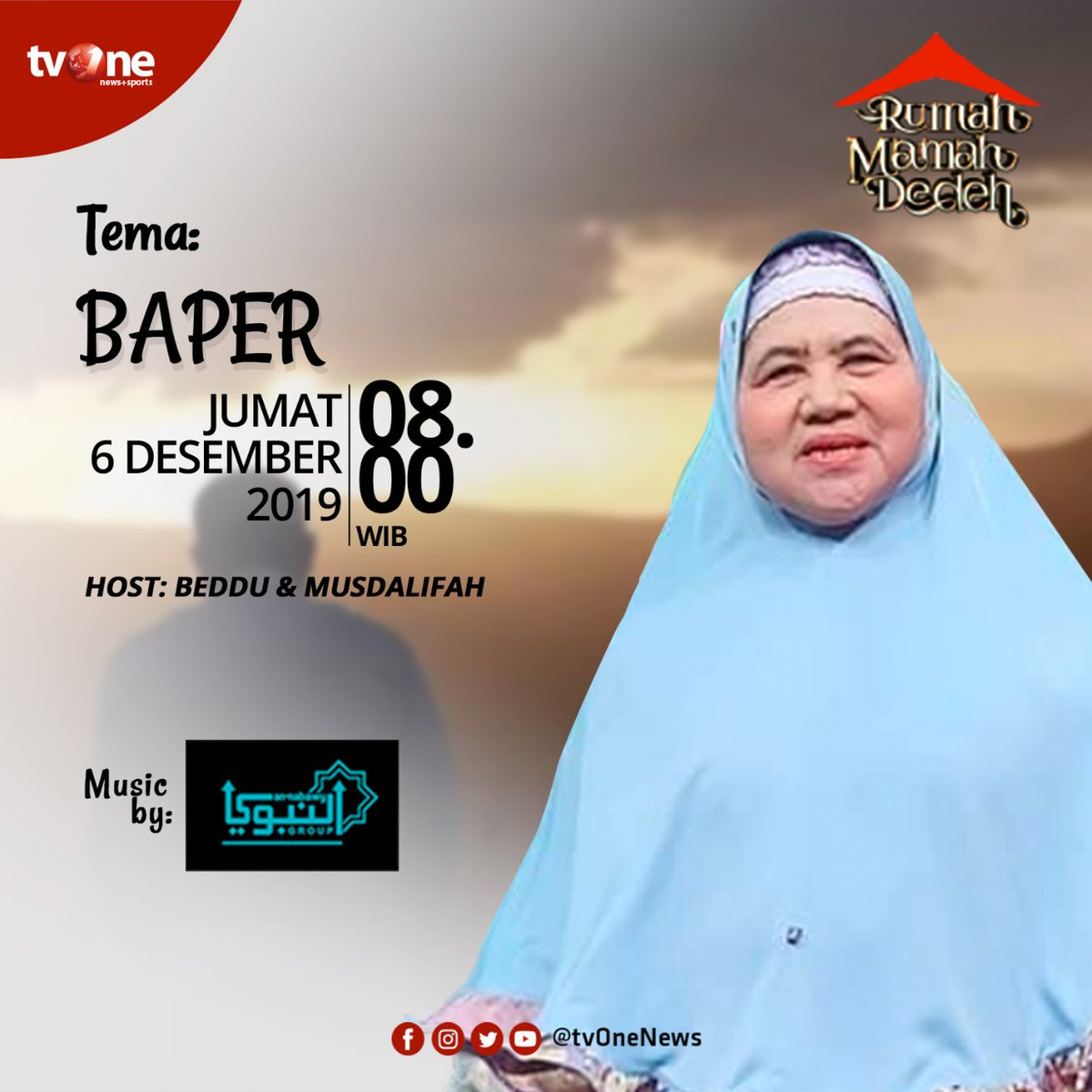"""Jangan lewatkan ceramah Rumah Mamah Dedeh dengan tema: """"Baper"""".Jumat, 6 Desember 2019 jam 08.00 WIB hanya di tvOne & streaming tvOne connect.#RumahMamahDedeh #MamahDedehditvOne"""