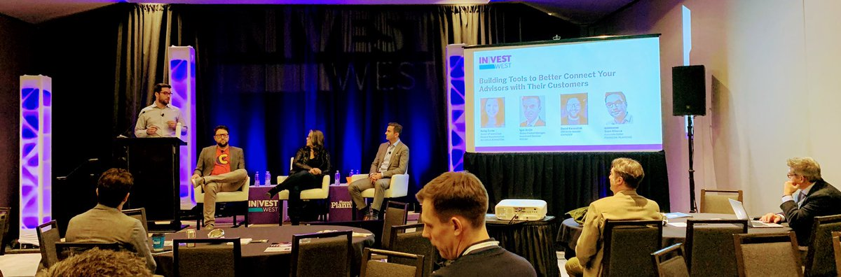 .@sjallocca leads panel on creating a culture that embraces data-driven approaches and tech to deliver better #CX @dkarandish, Koley Corte of @AB_insights and Igor Joncic of @Fiserv #InvestWest2019
