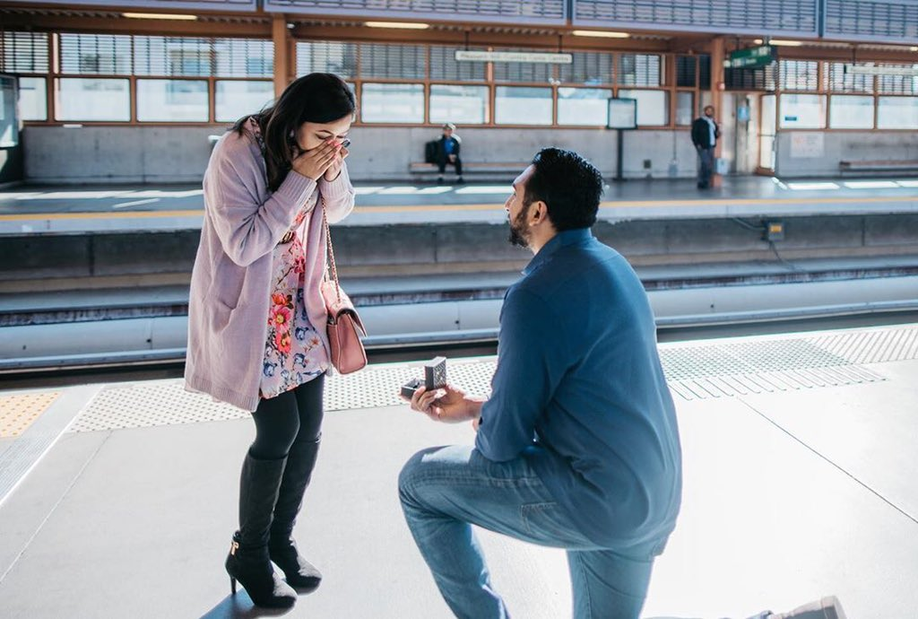 Congrats and all our best wishes to Amit and Anuja, who met on BART and proposed to each other last month on BART!  They first met at Civic Center Station 2 years ago, kept running into each other on the trains, went on a date and the rest was history!  <br>http://pic.twitter.com/ehph6R1qGv