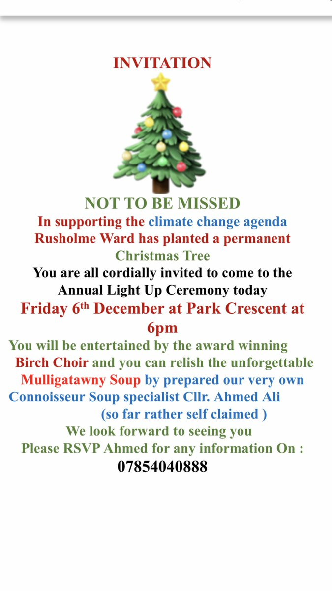 Why not come to the Rusholme Xmas Tree Light Up Ceremony?@Afzal4Gorton.@RabnawazA. @patkarney@RusholmeLabour.@ILoveMCR@MENnewsdesk.@S_A_Russell.@SirRichardLeese come to Rusholme see the hospitality!