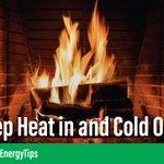 Keep your fireplace damper closed unless a fire is burning. Keeping it open is like keeping a window wide open in winter. #EnergyTip ❄