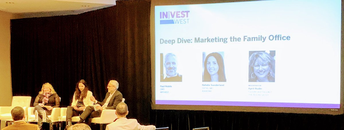 .@TheRudinGroup leads conversation on #familyoffice marketing and the need to move from technical proficiency to high #EQ and hyperpersonalized advice with expert marketers Natalie Sutherland CMO @Addepar and Paul Nobile CMO @artivest #InvestWest2019 @InVest_Event