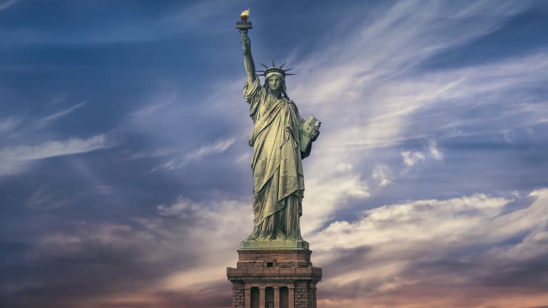 Today we were discussing the last few lines of Emma Lazarus's 'The New Colossus,' with a focus on 'Send these, the homeless, tempest-tost to me,' and a student raised her hand and said, 'If I didn't know anything about U.S. history, I'd think this poem was about a safe haven.' <br>http://pic.twitter.com/W9off0G5WE