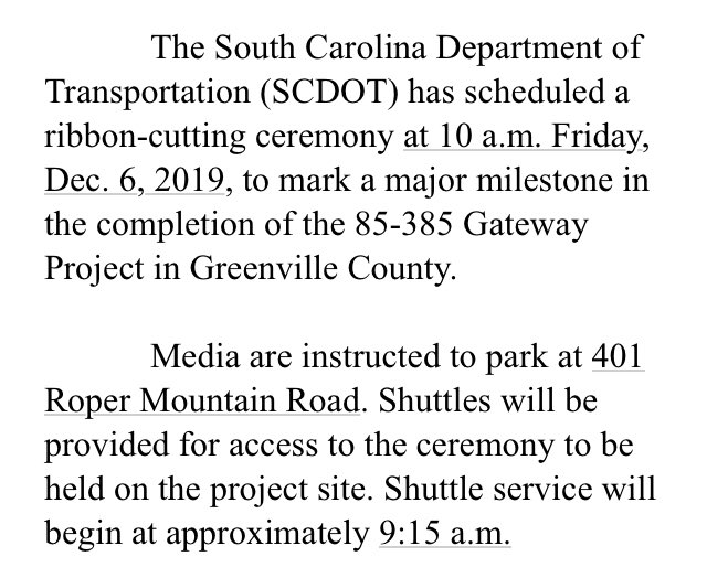 Image posted in Tweet made by SCDOT on December 6, 2019, 1:22 am UTC