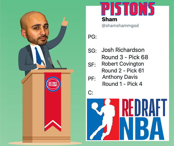 With the Sixty-Eighth Pick of Round Three @shamshammgod Representing the @DetroitPistons Selects: @J_Rich1 #ReDraftNBA #NBATwitter #NBADraft #DetroitBasketball On the clock: @VidaVivaDiva @nuggets