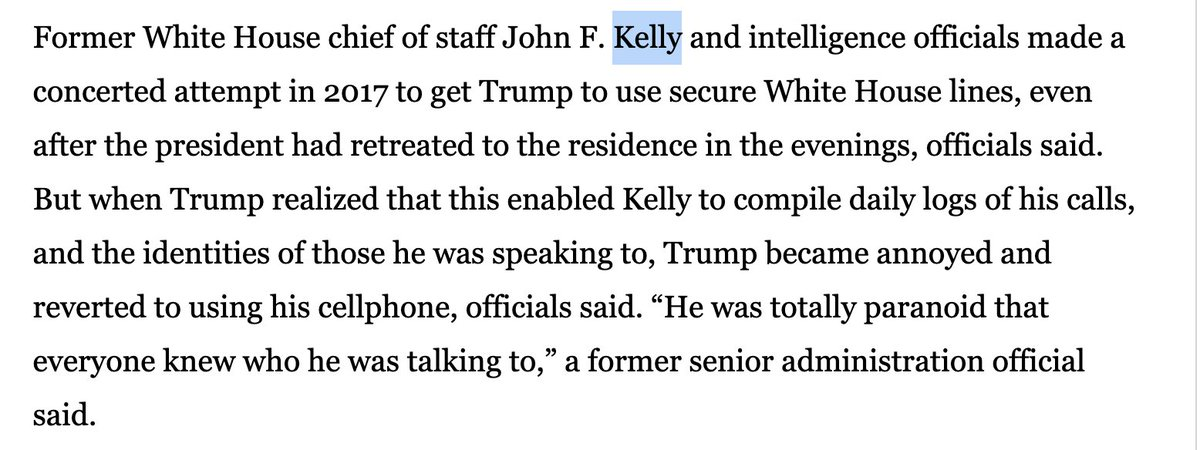 In order that his own chief of staff John Kelly not know the numbers he called, Trump willingly risked letting Vladimir Putin (and China and Iran and Israel) eavesdrop on what he said  http:// washingtonpost.com/world/national -security/phone-logs-in-impeachment-report-renew-concern-about-security-of-trump-communications/2019/12/05/2066fbf4-16fe-11ea-8406-df3c54b3253e_story.html   … <br>http://pic.twitter.com/4tMC2iCt3b