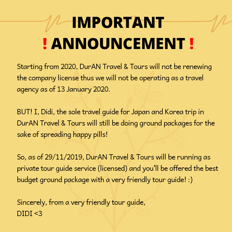 [HELP RT]   As of January 2020, my travel guide services for Japan & Korea will no longer be operating as DurAN Travel & Tours (@/durantraveltours) on IG/FB. I have re-branded it to Didi's Kore Travel (@/didiskoretravel) as if today so please give me support and much love!  <br>http://pic.twitter.com/0vVrnPtwmG
