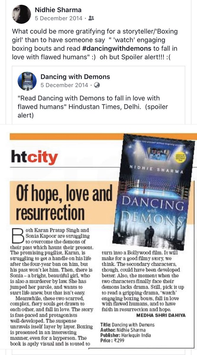 """To be human is to be beautifully flawed"" Read Dancing with Demons to fall in love with my flawed humans. Karan and Sonia!  'Watch' engaging boxing bouts too... #dancingwithdemons #HTcity #throwback #writers #SpoilerAlert #FridayMotivation <br>http://pic.twitter.com/9a1QF2EPYJ"