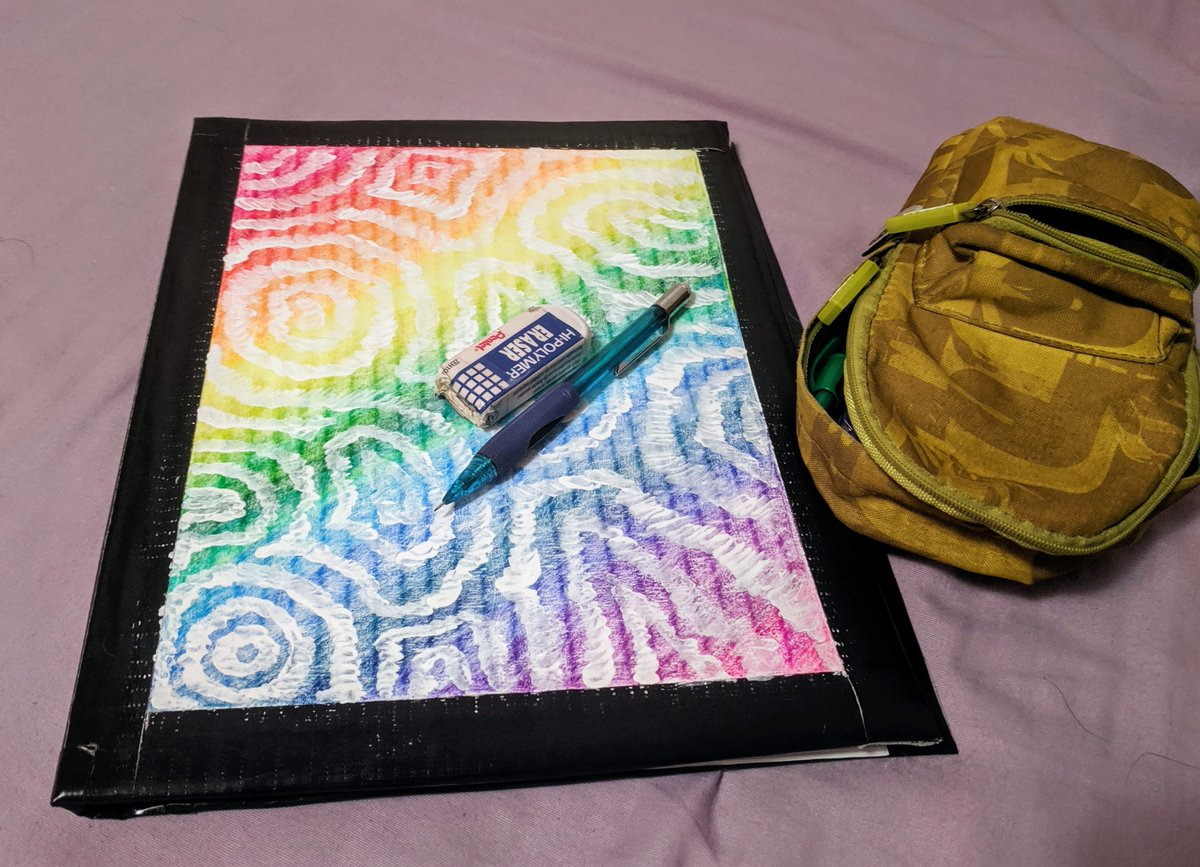 """went with the """"Lisa Frank knockoff"""" aesthetic for my notebook cover  50 sheets, still has the shipping tag on the inside cover, and smells faintly of glue. Overall, I've done worse."""