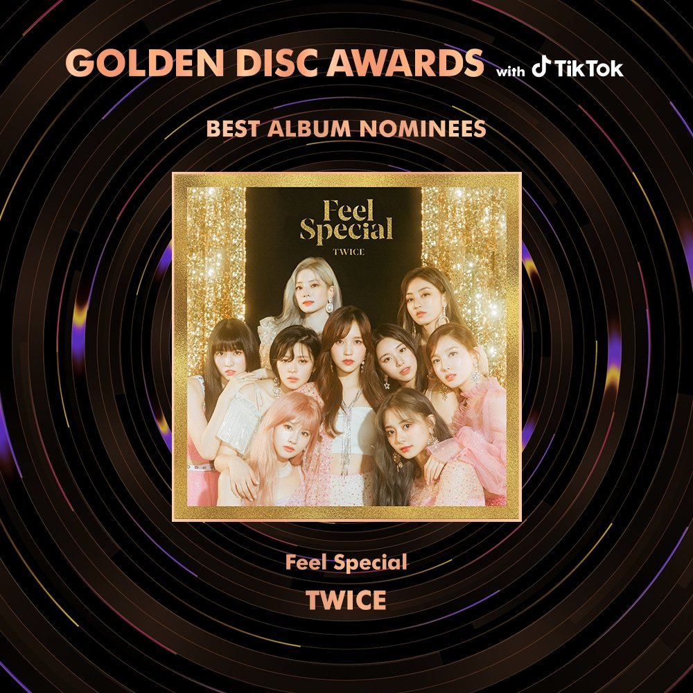 TWICE is nominated for Golden Disk Awards digital daesang (Yes or Yes) and album daesang (Feel Special)   They are also nominated for 'Most Popular Artist'. You can vote for them on TikTok:  http:// vt.tiktok.com/RpYyYU/      #TWICE  #트와이스 <br>http://pic.twitter.com/xJUVKjj1js