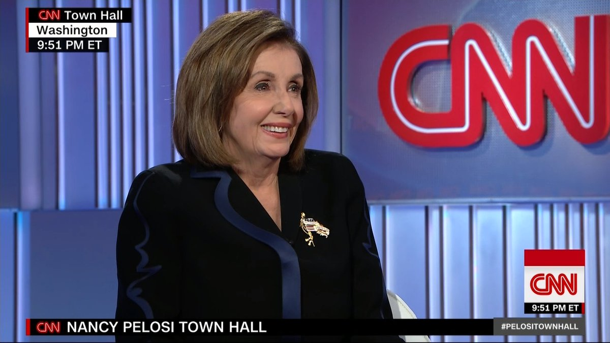 """I'm not on a timetable. I'm on a mission,"" says House Speaker Nancy Pelosi, in a response to whether she would end her congressional career if a Democrat wins in 2020 because Obamacare would be protected. #PelosiTownHall https://cnn.it/2OXqXFv"