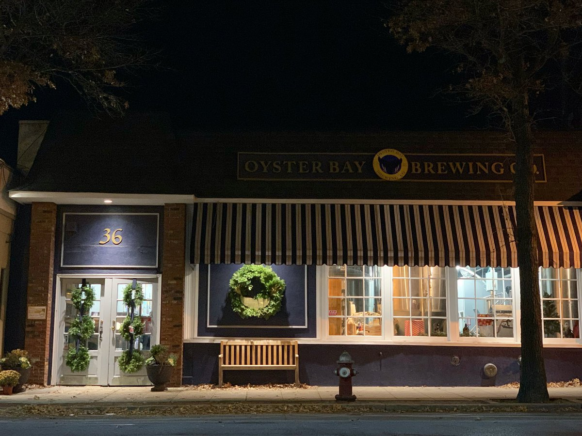 Oyster Bay Brewing by twilight ✨🌲#oysterbaybrewingco #oysterbay #longisland #strongisland #nassaucounty #shoplocal – at Oyster Bay Brewing Company
