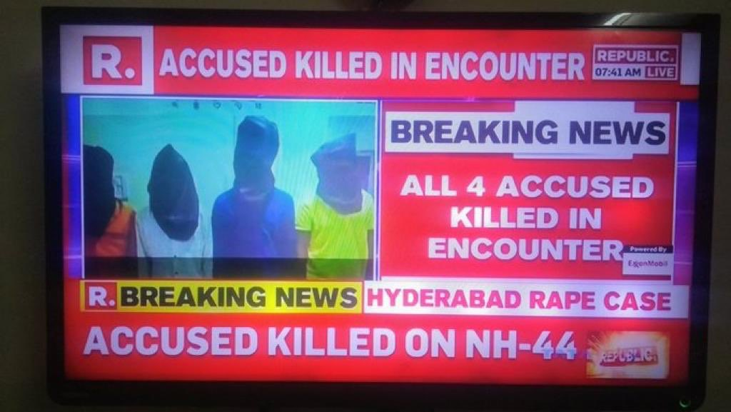 Ithu dhandha police.   Law is by the people for the people of the people. #EncounterNight like this.  #ripdisha <br>http://pic.twitter.com/nIp2BNG0As