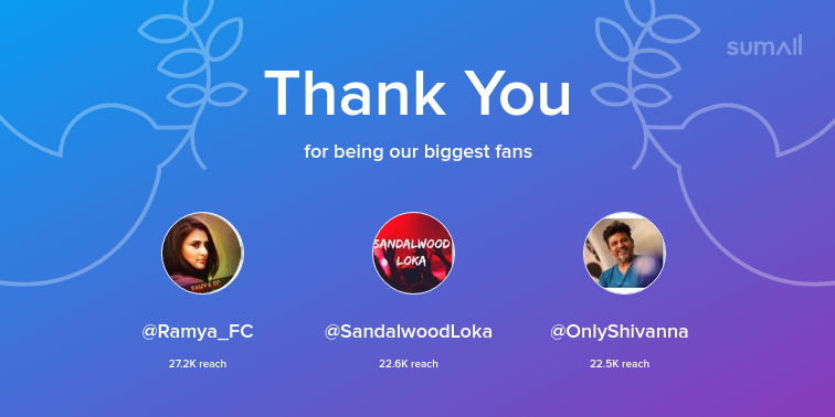 Our biggest fans this week: Ramya_FC, SandalwoodLoka, OnlyShivanna. Thank you! via