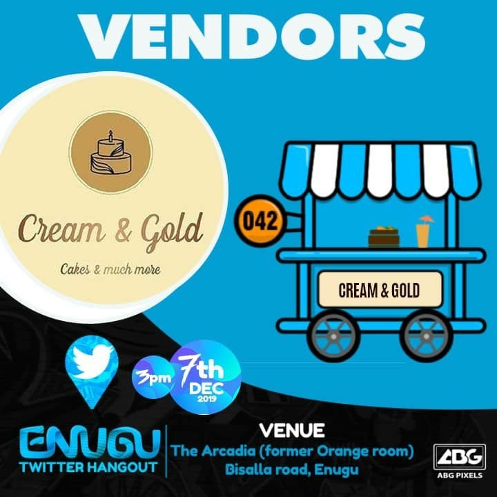 We've got your favourite vendors on this one Cakes- @CreamandGold042  Food & chops- @Stansbaby  Smoothie/juice/sharwarma- @enugujuiceplace  Cocktails- Tipsy tables  #enugutwitterhangout <br>http://pic.twitter.com/F44we1FWsX