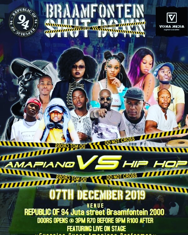 It's time to close the doors in #BraamfonteinShutdown  Get your tickets at the door Only R70 R100 gets you in if you late  #HipHopVSAmapiano This weekend alone <br>http://pic.twitter.com/sZHnEnx0EG – à Pure Joy Lodge