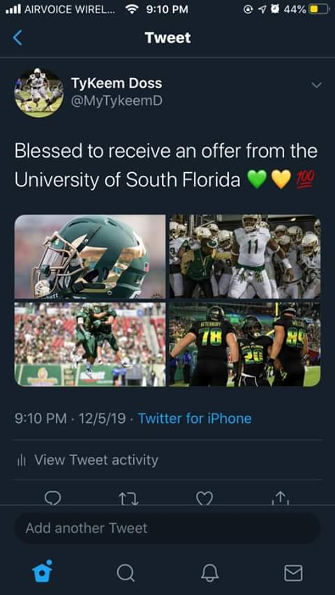 2018 Scout Trout All American receives an offer from South Florida!   #AllAmericanBowl https://t.co/xHBzseJyjZ