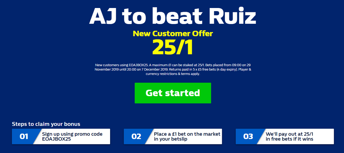 WilliamHill Enhanced odds 🥊Andy Ruiz Jr vs Anthony Joshua II▫️New Customers only (use Code EOAJBOX25)▫️##RuizJoshua2 #ClashOnTheDunes▫️AJ to beat Ruiz @ 25/1▫️Max bet £1 Winnings Paid in free bets 5 x £5↙️🔸http://bit.ly/WilliamHillBoxingEnhancedOdds …#Boxing #Joshua #AJ 18+ T&Cs Apply▫️8