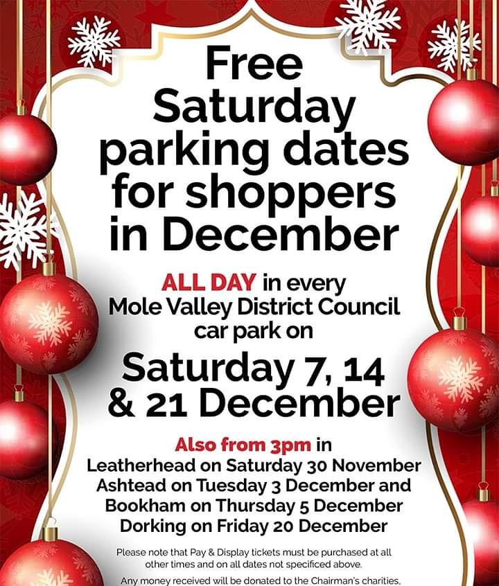 #freeparkingday #saturday #molevalley #Dorking #visitsurrey #visitdorking #shoplocal @hellodorking @molevalleydc @visitsurrey @Visitdorking @DorkingFriends @DorkingBBG @DorkingCrier